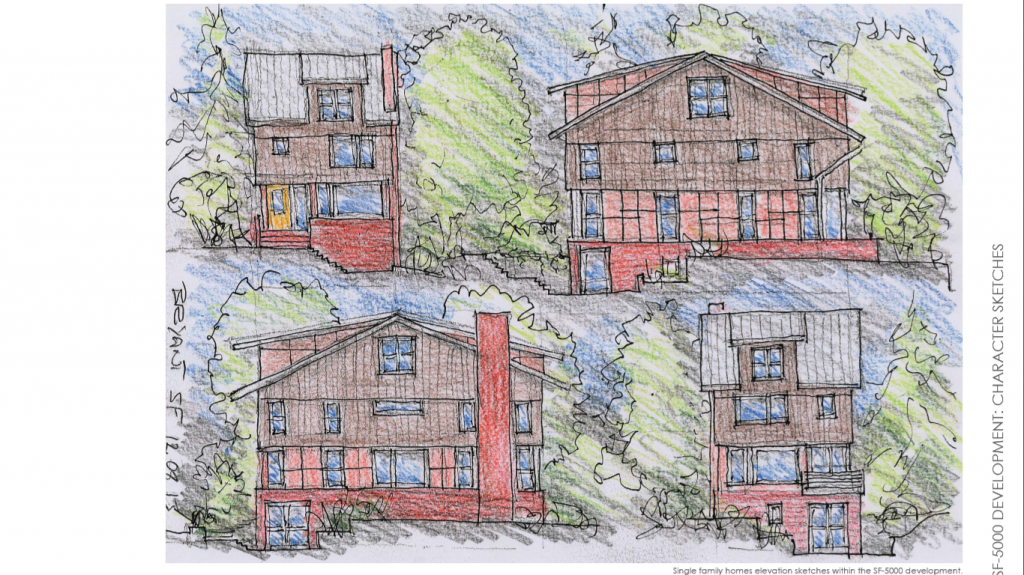 Preliminary Sketches of the Single Family homes, to be located on NE 68th.