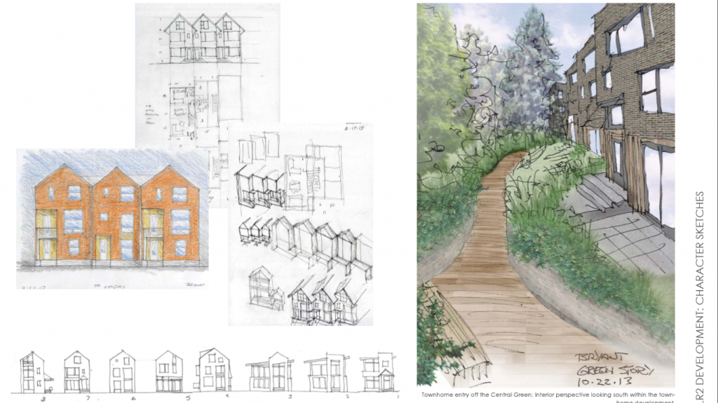 Preliminary sketches of townhomes, on East side of project along 34th Ave NE